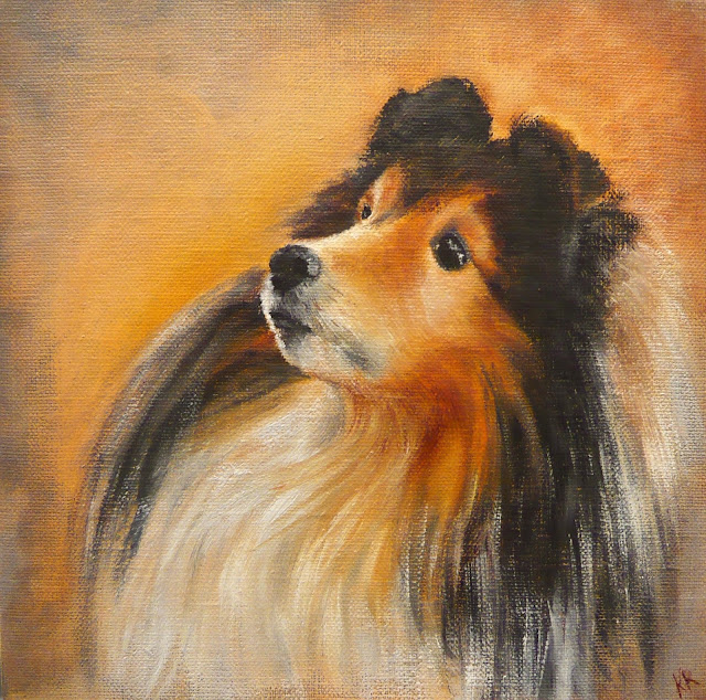 oil painting of a sheltie