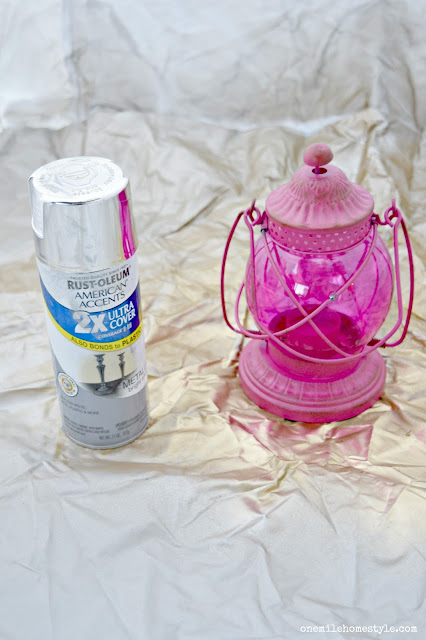 Rustic Metal Thrift Store Lantern DIY Makeover