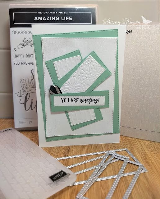 Amazing life, rectangle stitched framelit, subtle embossing, petal pair embossing, rhapsody in craft, mint macaron,
