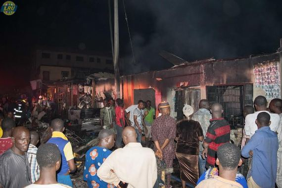 Photos: 5 shops gutted by fire in Lagos