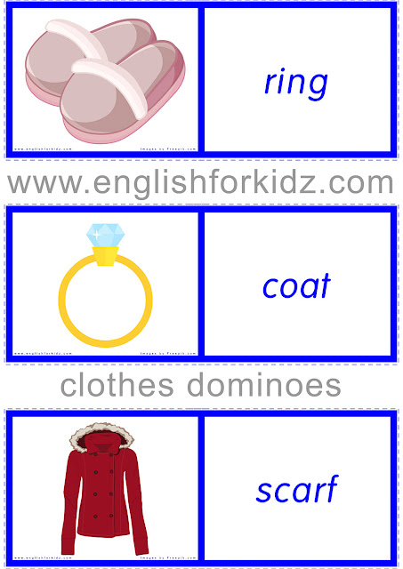 Printable clothes dominoes cards