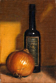 Oil painting of a brown onion beside an antique blue castor oil bottle with label