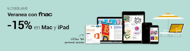 Mejores ofertas promoción 15% de descuento en Mac e iPad de Fnac.es