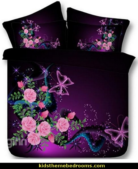 Butterflies and Pink Roses Printed Cotton 4-Piece Bedding Sets