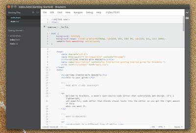 Brackets editor Linux