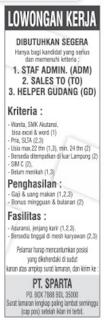 Bursa Kerja Lampung PT. SPARTA