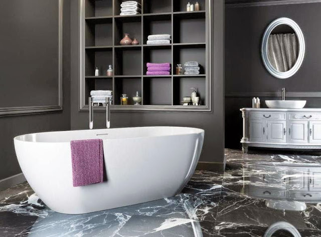 Elegant bathroom in black grey and white