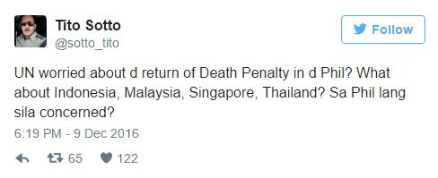 Sen. Sotto To UN On On Death Penalty: What about other asian countries? Sa Philippines lang sila concerned?