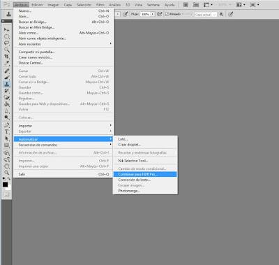 Primer paso para hacer una fotografía HDR en Photoshop