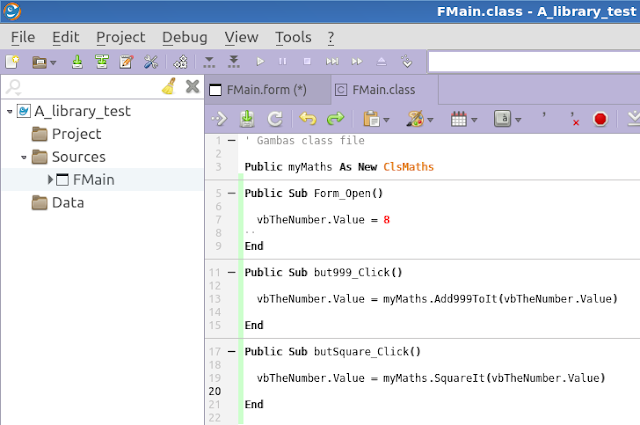 Gambas programming Linux Library code libraries