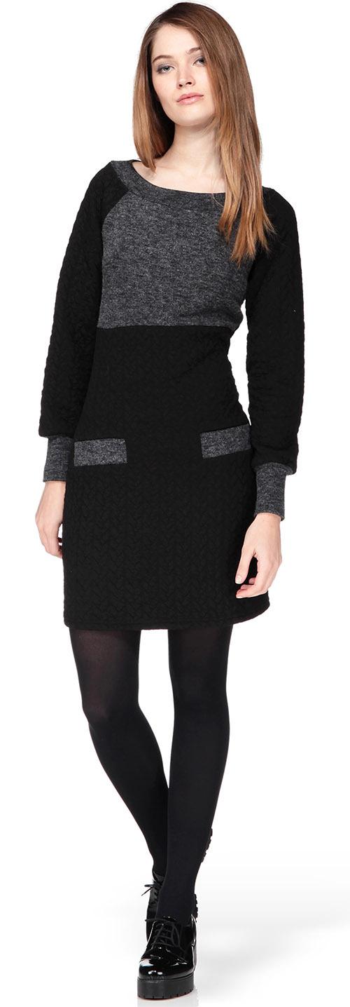Robe pull bicolore noire et grise Molly Bracken