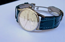 Marcela's beautiful Nomos Orion 33 on Azure Bleu Alligator
