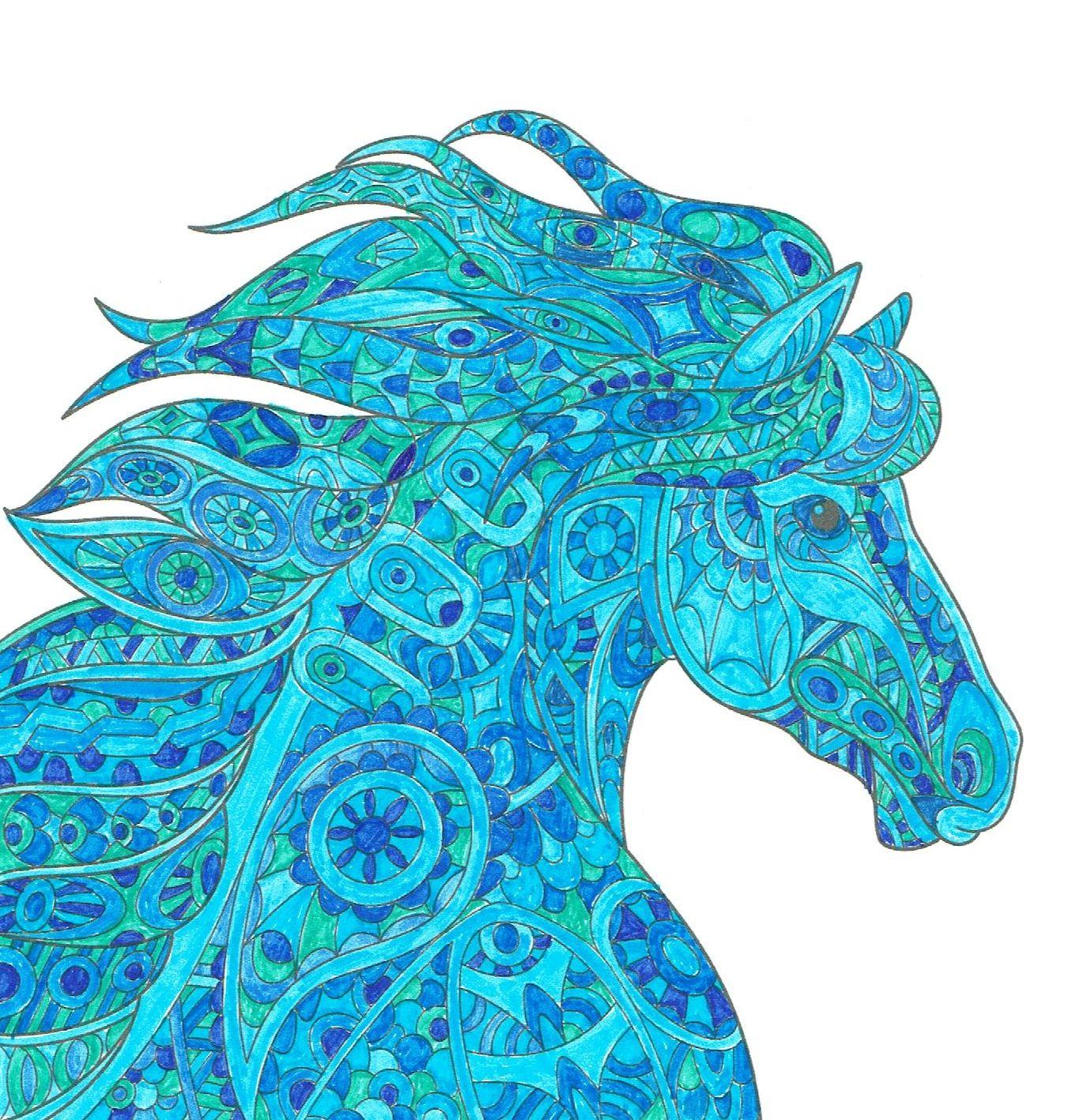 Ausmalbücher für Erwachsene: Pferde zum Ausmalen und Relaxen