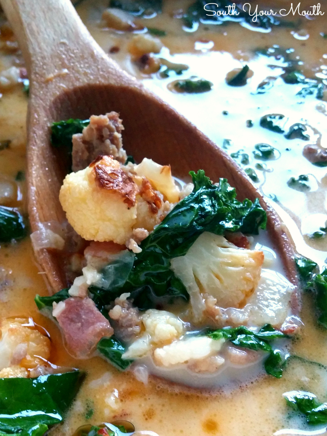 Low Carb Zuppa Toscana! Made with roasted cauliflower instead of potatoes. This soup has ALL the flavor of the Olive Garden hit recipe! Post also includes the traditional recipe with potatoes.