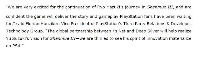 Sony's comment from the press release