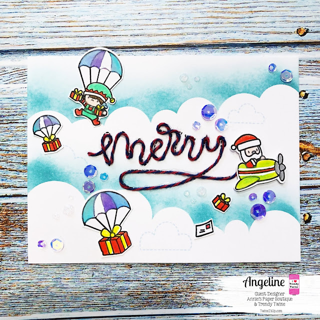 Trendy Twine: Guest Designer - Merry Mail #trendytwine #scrappyscrappy #merrymail #twine #christmascard #card #cardmaking #coloredpencils #unitystamp #sequins #nuvoglitterdrop #simonsaysstamp #stamptember2018 #mamaelephant #santa #cloudstencil