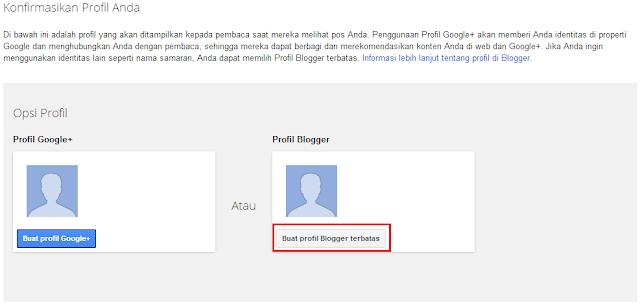klik buat profil blogger terbatas
