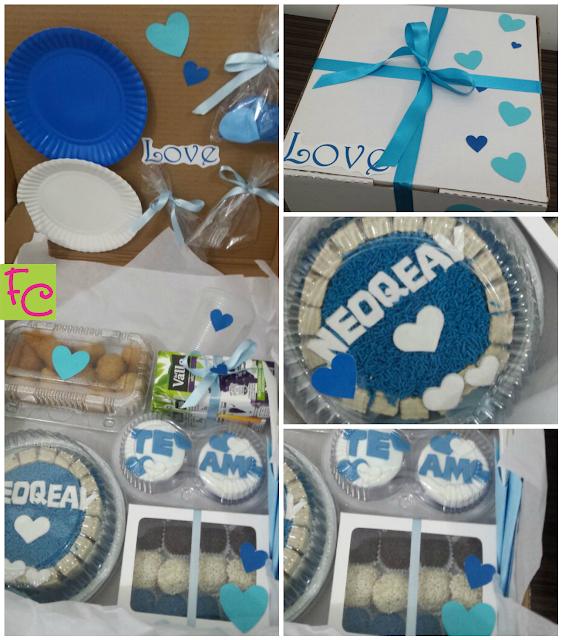 Festa na Caixa - Tema Romântica Azul e Branca