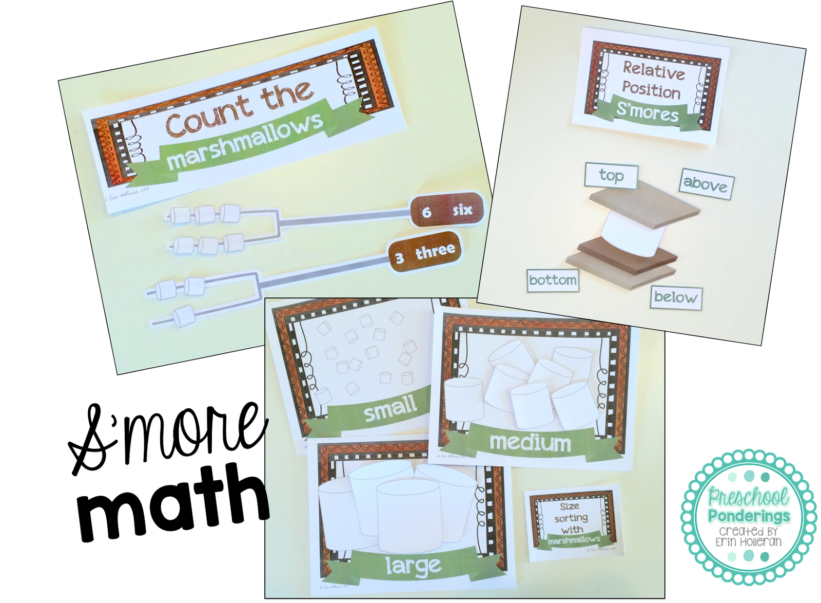 My Smore Math Set Includes Three Different Activities That Cover Very Concepts In The First Activity Children Are Asked To Count