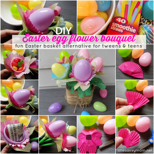 Easter Egg Flower Bouquet Tutorial - Fun DIY Easter Basket Alternative For Tweens and Teens One Savvy Mom onesavvymom blog nyc kids crafts diy