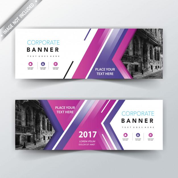 Purple website banner design Free Vector