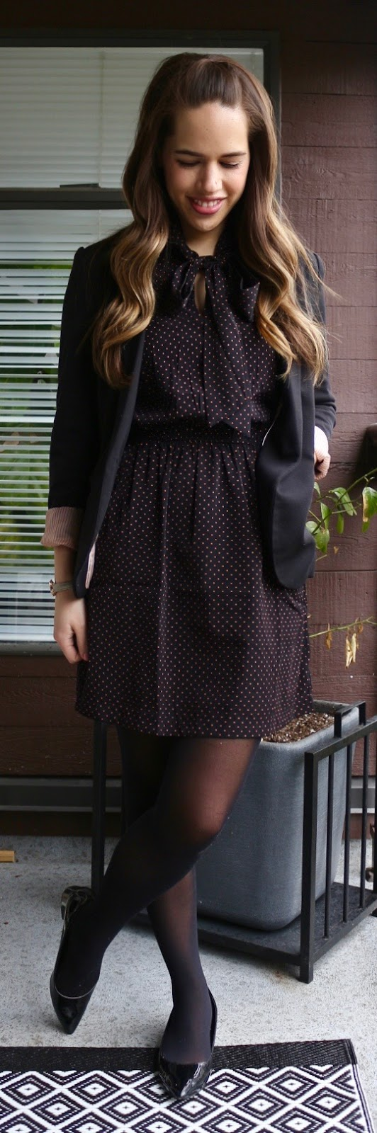 Jules in Flats - Tie Neck Polka Dot Dress + Blazer