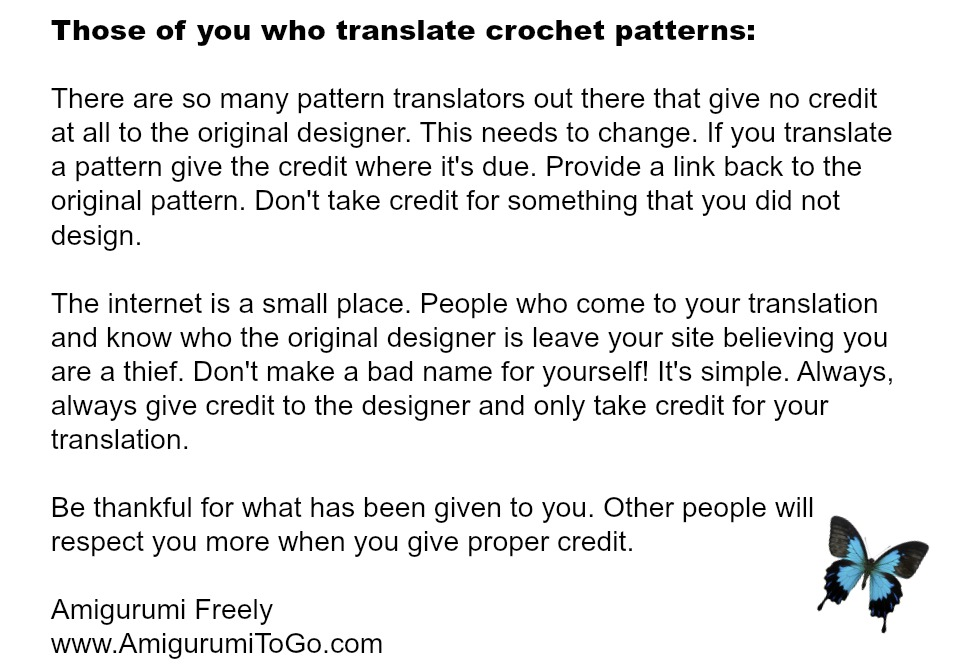 Translating Patterns With No Credit To The Designer Amigurumi To Go