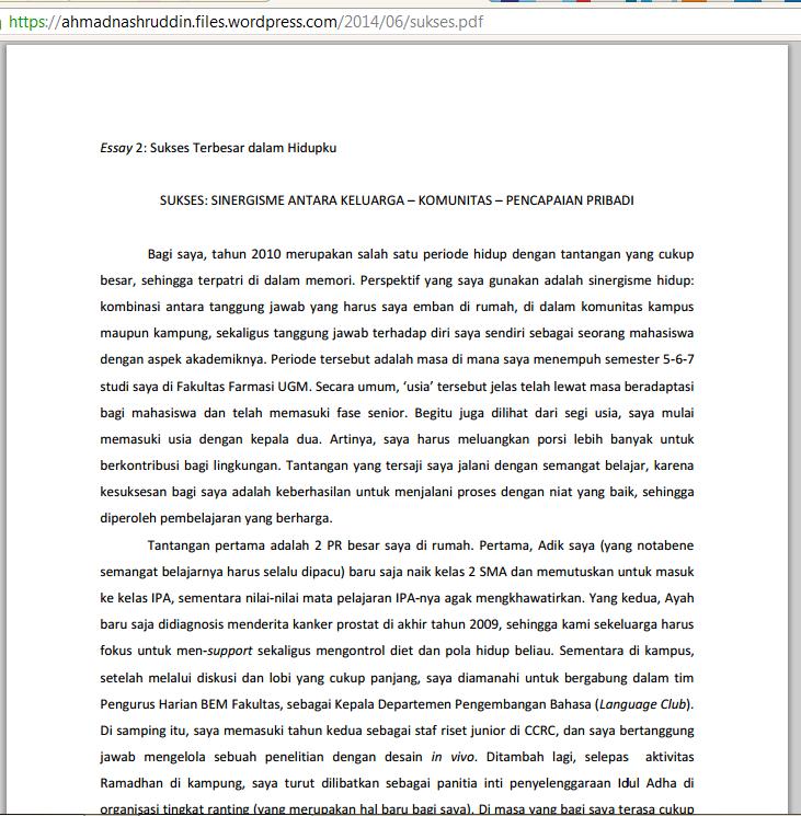 essay sukses terbesar dalam hidupku beasiswa lpdp