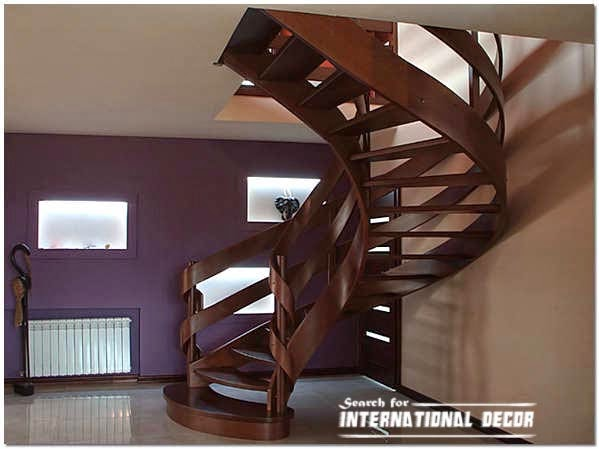 Spiral wooden staircase to the attic