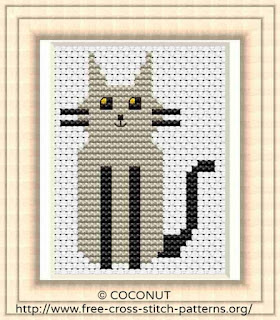 Free and easy printable cute cat cross stitch pattern