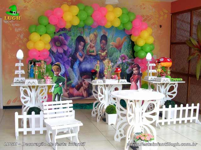 Mesa temática provençal em mesas borboletas para festa de aniversário infantil tema Sininho