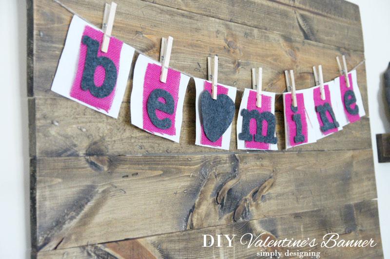 Be Mine Valentine's Day Banner | #banner #diy #crafts #valentinesday #burlap
