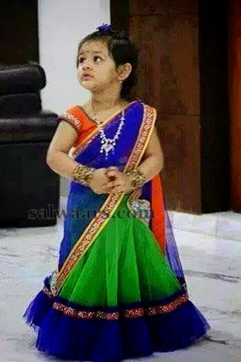 Baby In Green And Blue Half Saree Indian Dresses
