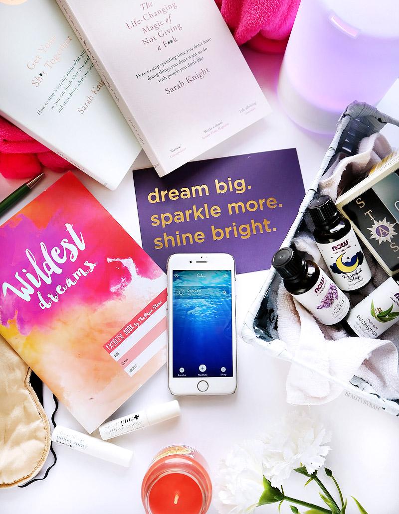 self care night ritual with meditation, journalling, tea and aromatherapy