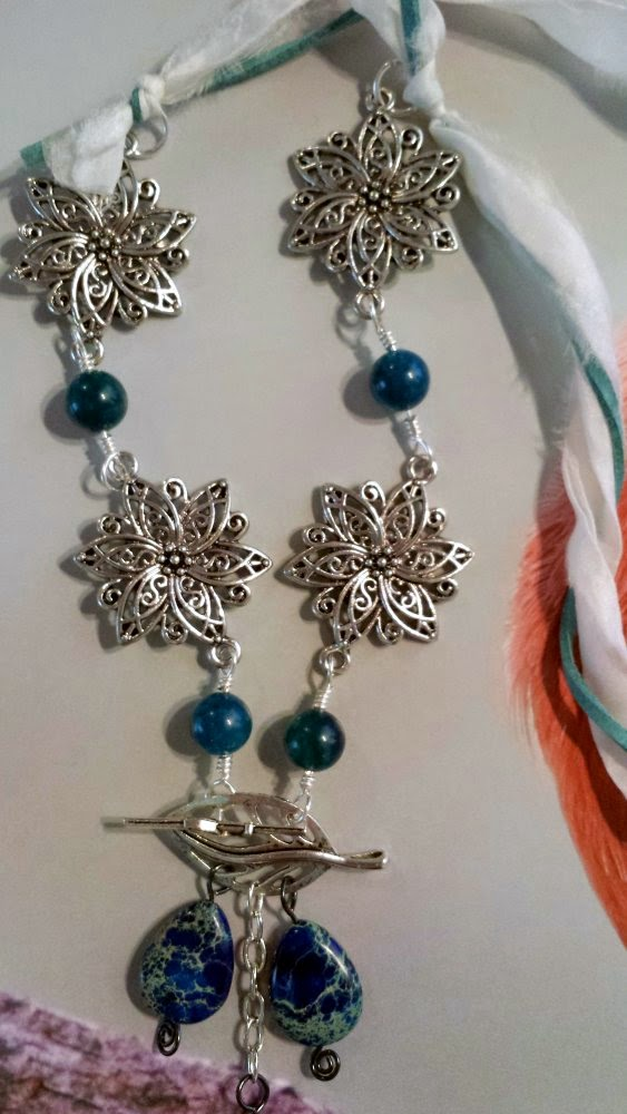 The Creative Continuum of Seven Artists: Reveal #6 ~ featuring Cynthia Macatha: sari silk, imperial jasper, leaf toggle, apatite rounds, wire working, ooak necklace, June Dream :: All Pretty Things