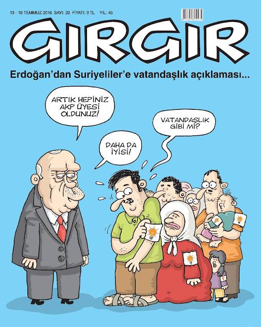Gırgır Dergisi - 13-19 Temmuz 2016 Kapak Karikatürü