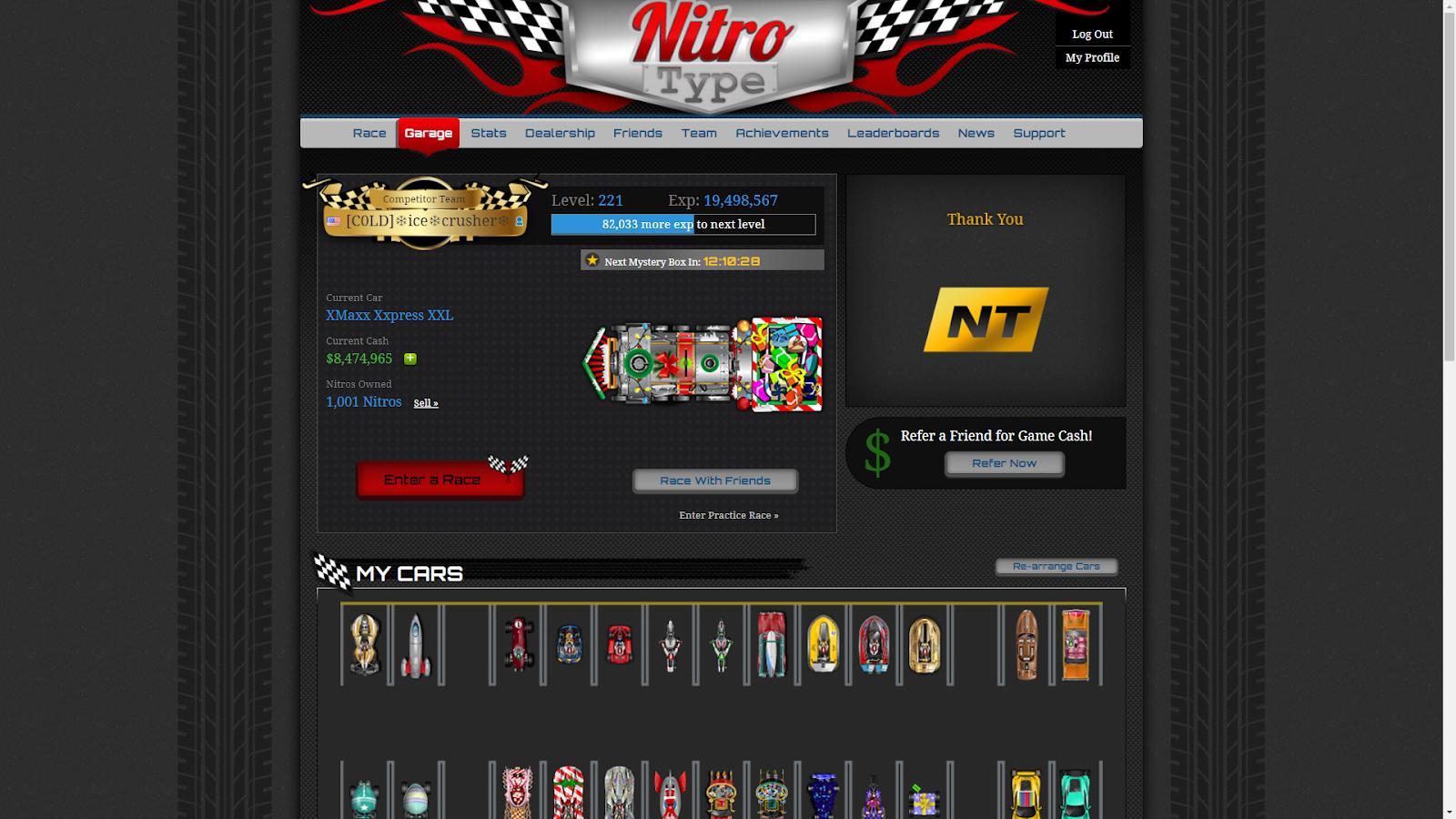 Nitro type race garage sales