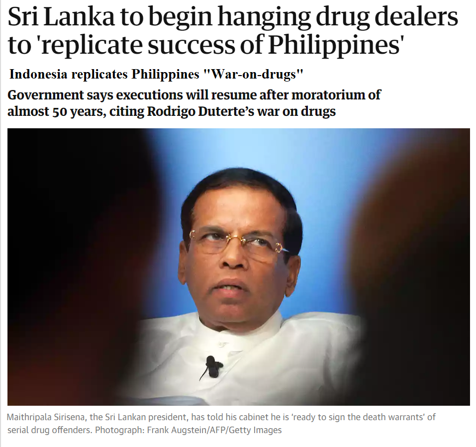 Sri Lanka to begin hanging drug dealers to 'replicate success of Philippines'