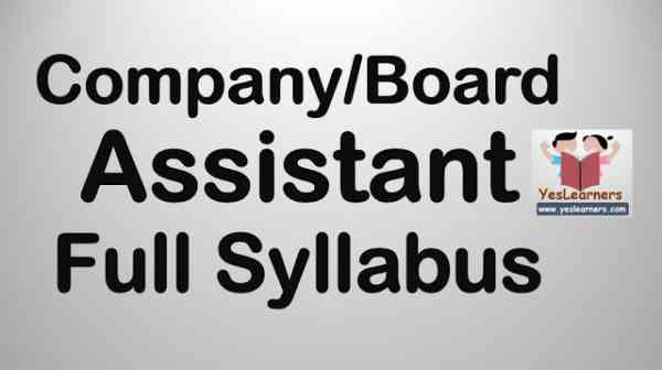 Syllabus Company Assistant
