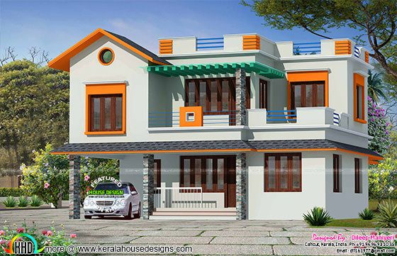 2390 sq-ft mixed roof 4 bedroom house