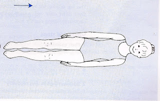 Views from above Image of a female swimmer on their back in a streamline position finishing the survival backstroke swim