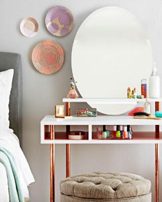 diseño de tocador moderno sencillo espejo redondo