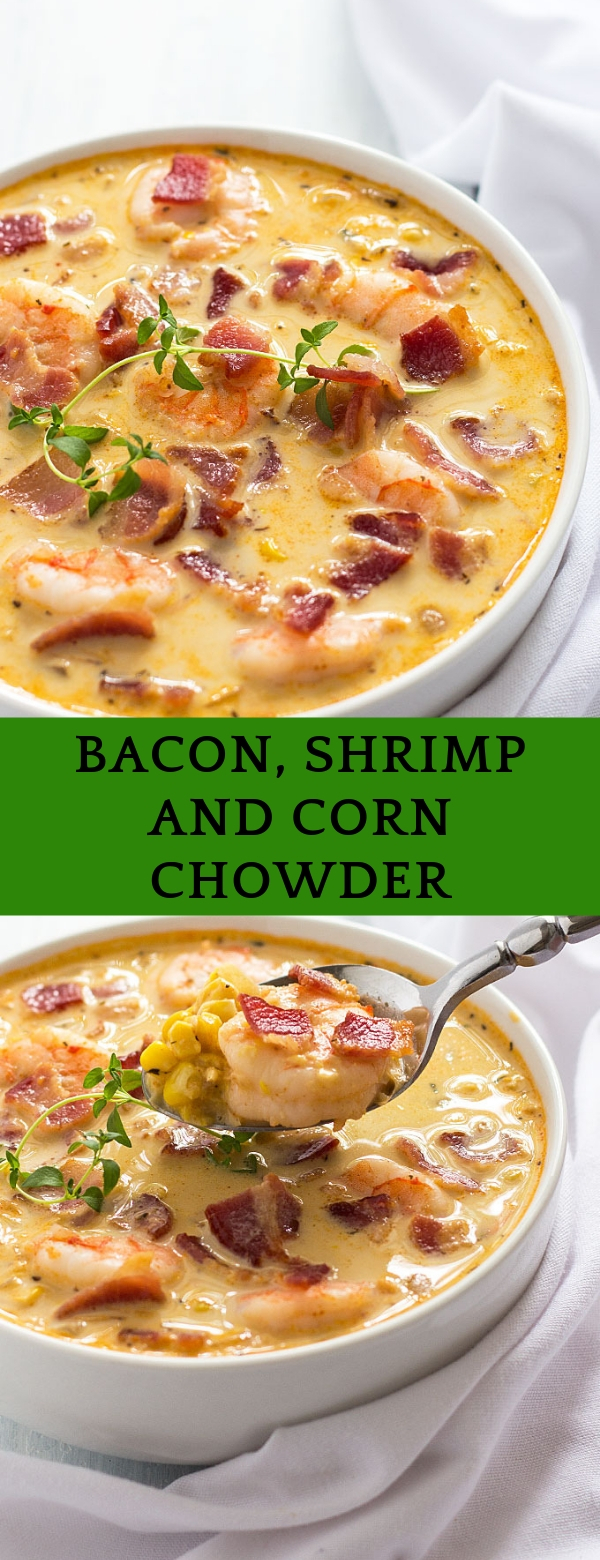 bacon, shrimp and corn chowder #seafoods #dinner