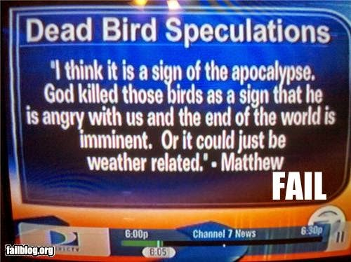 god killed birds weather related funny religious nutter fail