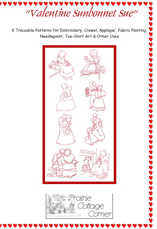 !!! NEW !!! Valentine Sunbonnet Sue Embroidery Patterns