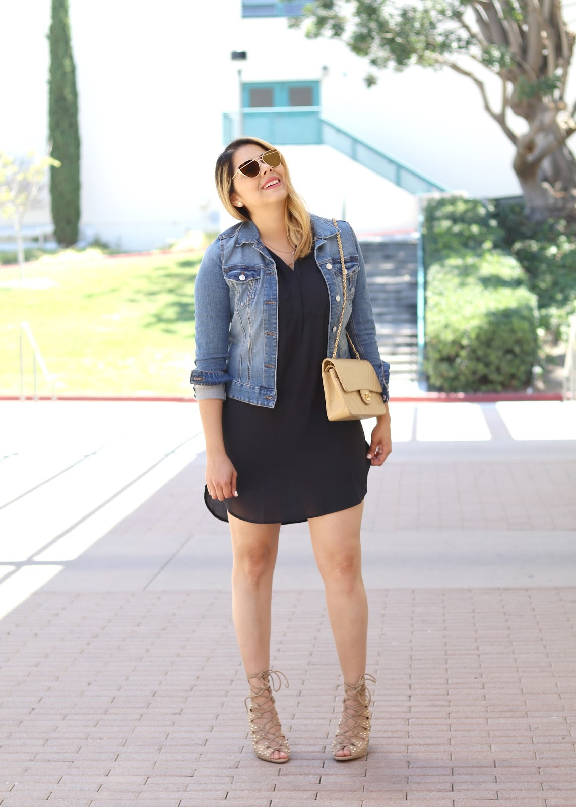Jean Jacket and Black Dress Outfit, san diego fashion blogger, jean jacket outfit, black shirtdress with nude accessories