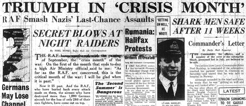 30 September 1940 worldwartwo.filminspector.com Daily Mail headlines
