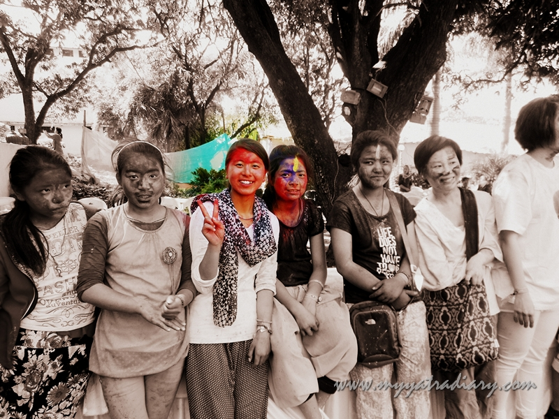 A group of friends on the festival of Holi