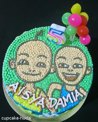 Upin Ipin Happy Birthday Aisya Damia cupcake huda