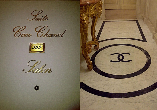 Coco Chanel hotel suite at the Ritz, door and floor with logo